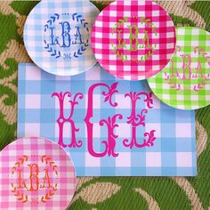 Melamine monogram salad plates by preppypapergirl on Etsy