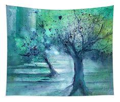 Olive Trees In Moonlight Tapestry featuring the painting Olive Trees in Moolight by Sabina Von Arx Artwork Prints, Framed Artwork, Poster Prints, Framed Prints, Tree Canvas, Canvas Art, Canvas Prints, Green Bathroom Decor, Moonlight Painting
