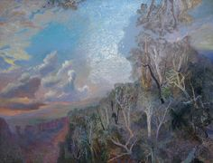 William Robinson painting gift of the artist to QUT Gallery - Evening clouds, Nundimbah