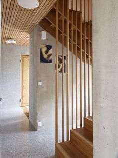 The stairwell in Helen Ditlev-Simonsen's house in greater Oslo, Norway, has terrazzo floors.