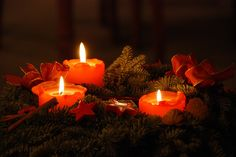 Advent wreath on Christmas Eve-- the small flames our only light as the magic bedtime drew near.