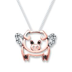 Flying Pig Necklace 1/10 cttw Diamonds Sterling Silver/10K Gold