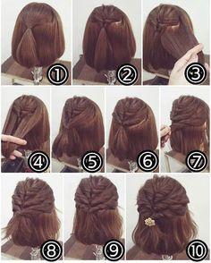 Short Hairstyles For Thick Hair, Short Hair Updo, Crown Hairstyles, Pretty Hairstyles, Hairstyle Ideas, Medium Hair Styles, Short Hair Styles, Hair Dos, Hair Hacks