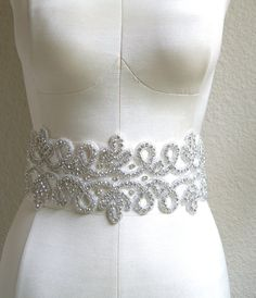 Crystal Bridal Sash THE EMPRESS Rhinestone Filigree Belt. $235.00, via Etsy.