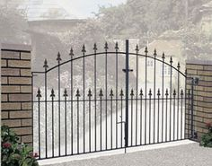 Wrought iron style double metal driveway gates for sale in modern & traditional styles. Driveway Gates For Sale, Aluminum Driveway Gates, Wrought Iron Driveway Gates, Metal Garden Gates, Gates And Railings, Driveway Entrance, Metal Gates, Metal Railings, Entrance Gates