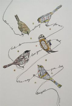 Meandering quote with collage birds Art Textile, Bird Illustration, Bird Drawings, Map Art, Collage Art, Collages, Bird Feathers, Fiber Art, Photo Art