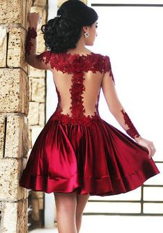 Wine Red Patchwork Lace Pleated See Through Long Sleeve Fashion Bridesmaids Party Mini Dress