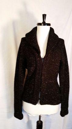 WOMENS Black Sweater Shawl Collar Cardigan Size L large Hooks silver  #Unbranded #Cardigan