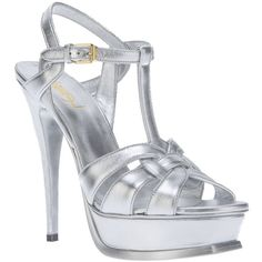 SAINT LAURENT 'Tribute' sandal (9.620 ARS) ❤ liked on Polyvore featuring shoes, sandals, t strap platform sandal, stiletto sandals, strappy platform sandals, leather shoes and t strap sandals