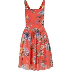 Parisian Coral Floral Pinafore Dress (€14) ❤ liked on Polyvore featuring dresses, red floral dress, surplice dress, pinafore dress, fit and flare dress and coral red dress