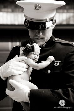 newborn kori + her awesome marine daddy