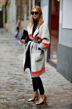 topshop blanket coat | Pernille in her grey/orange blanket coat - get similar here
