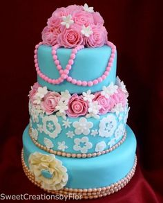 Teal and Pink Wedding cake