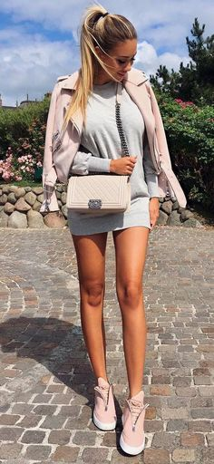 casual outfit inspiration biker jacket bag dress sneakers