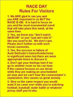 Race Day rules for visitors Nascar Quotes, Nascar Memes, Racing Quotes, Dirt Track Racing, Nascar Racing, Auto Racing, Kurt Busch, My Champion, Kevin Harvick