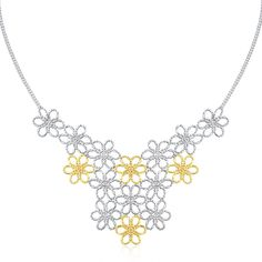14K Yellow Gold & Sterling Silver Flower Cluster Bead Necklace