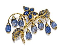 Gold and Sapphire René Boivin Brooch
