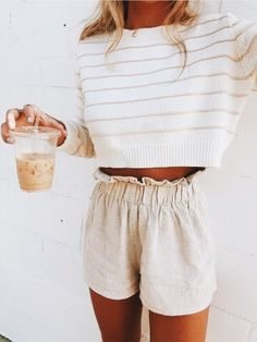 Fashion Dresses Tops Bottoms & Accessories 38 Beautiful Casual Summer Outfits Ideas You Must Try - spring summer fashion - linen shorts - white sweater Mode Outfits, Trendy Outfits, Fashion Outfits, Classy Outfits, Fashion Ideas, Summer Outfits Modest Classy, Woman Outfits, Cute Girl Outfits, Fashionable Outfits