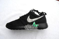 Women's Size 5 Swarovski Nike Black Roshe Run Blinged with SWAROVSKI® Crystals
