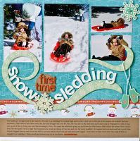 First Time Snow Sledding - A Project by NancyDamiano from our Scrapbooking Gallery originally submitted 04/12/10 at 09:07 AM