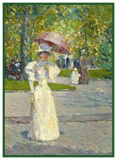 Woman strolling with a Parasol by American Impressionist Painter Childe Hassam Counted Cross Stitch or Counted Needlepoint Pattern Claude Monet, Manet, Paul Cezanne, Famous Artists, Great Artists, Art In The Park, American Impressionism, Impressionist Artists, Counted Cross Stitch Patterns