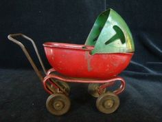 Vintage Painted Metal BABY DOLL Pram Buggy CARRIAGE Toy, Christmas Colors! | eBay