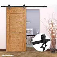 WinSoon 7.5FT Black Interior Roller Double Wood Barn Door Sliding Hardware Closet Track Kit Set