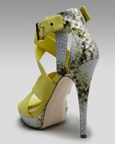 Burak Uyan Crisscross Leather & Python Sandal. :O
