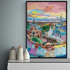 Parc Guell, Gaudi, Make Art, Framed Art, Interior Design, Deco, City, Pictures, Artwork