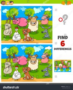 Cartoon Illustration of Finding Differences Between Pictures Educational Game for Children with Happy Farm Animal Characters images vector royalty free image vector Find The Difference Pictures, Cute Pastel Wallpaper, Ludo, Towel Animals, Logos Retro, Educational Games For Kids, Art Classroom, Different, Farm Animals