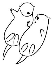 otter holding hands drawing - Google Search