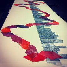 Lino cut, colour, architecture