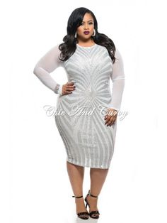 8485ae8022387 Final Sale Plus Size BodyCon with Sequin Design Front in White and Silver  1x 2x 3x