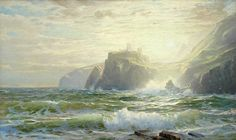 """The Tintagel Coast, Cornwall, England,"" William Trost Richards, ca. 1886-1888, oil on canvas, 22 x 36"", Pierce Galleries."