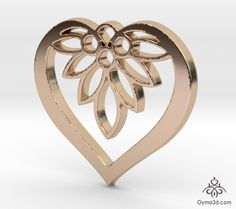 Flower of my Heart pendant #flower #rose #Pendant #Charm #Necklace #Gift #Present #Christmas #Birthday #Keychain #Jewelry #accessories #Valentine #love #amour #3dprinting #3dprint #Shapeways #3dprinted #gold #bronze #steel #heart