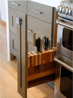 Knife storage, but not with little ones around.