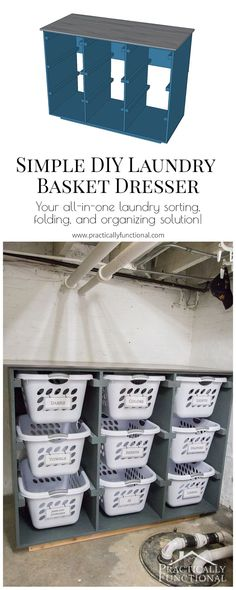 Great idea to get your laundry room organized! Make a simple laundry basket dresser to store your laundry baskets, and use the stained and sealed top for sorting and folding!