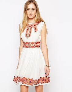 ASOS Skater Dress with Pretty Coloured Embroidery