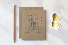 Rustic Kraft So Thankful for You Card  Thanksgiving by Paperlaced