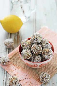 Lemon Coconut Chia Seed Energy Bites - Cookie Monster Cooking