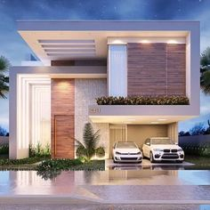 Modern House Design 693976623819374926 - Source by Modern Exterior House Designs, Modern House Facades, Dream House Exterior, Modern Architecture House, Residential Architecture, Modern House Design, Architecture Design, Exterior Design, Bungalow Haus Design