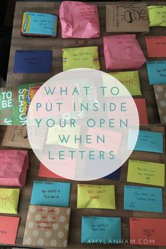 "Ideas for what to put inside ""open when"" letters to someone you love. Perfect for when friends move away, long-distance relationships, and more."