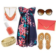 Cute blue short pink floral dress with sandals, shades etc. WHOLE summer look