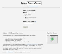 Quick Screen Share is a free screen sharing service from the makers of Screencast-o-matic. To use Quick Screen Cast just go to their website, select share your screen, and enter your name. Quick Screen Share will then provide you with a URL to share with the person with whom you are screen sharing. When that person opens the link you he or she will be able to see your screen. Quick Screen Share doesn't require you to install anything (assuming you have Java installed) or require you to…