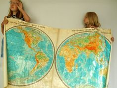 HUGE Vintage World Map Russian map Western Eastern Hemispheres Vinyl Coated Map School pull down map USSR era school map 1983    This is a gorgeous