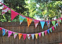 Fabric mini pennant banner bunting, Birthday party decoration, Michael Miller's Gypsy Bandana, photo prop