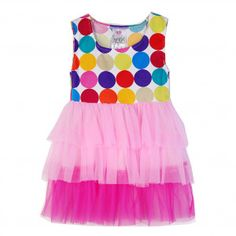 Freckles + Kitty Big Girls Multi Color Polka Dot Mesh Tiered Dress 7-10