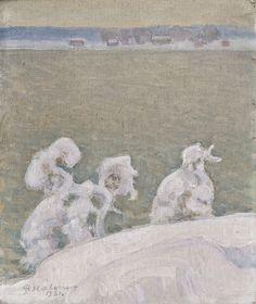'Lake Tuusula', 1921 - Pekka Halonen Nordic Art, Scandinavian Art, Romanticism Paintings, Helene Schjerfbeck, Maurice Denis, Russian Painting, Canadian Art, Winter Landscape, Landscape Paintings