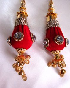 Red #Velvet #Beaded #Tassel For #Lehenga #Sari #Blouse by Shoppingover