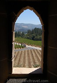 View of vineyards and Napa Valley from Castello di Amorosa Winery, Napa Valley